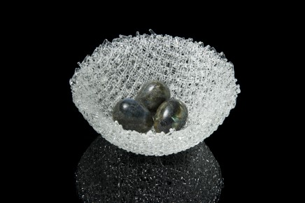 Cathryn Shilling  Nesting, 2018  Kiln formed glass cane with carved Labradorite eggs  16cm diameter x 5cm high