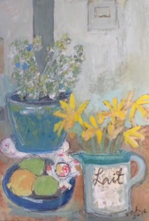 Virginia Hiller Daffodils and Lemons Mixed media on panel 48 x 38.5