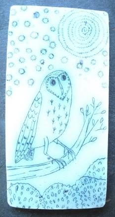Georgina Warne Owl . Cobalt mono type on stoneware panel 15 x 7.5 cm