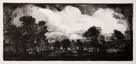 Robert Newton Big Clouds, Old Landscape Monotype 18 x 40 cm