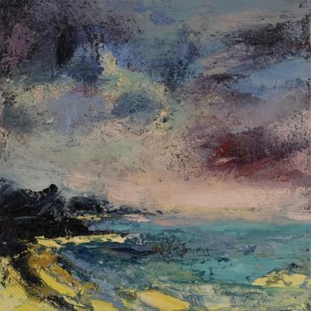 Nicola Rose Jurassic Headland Oil and sand on canvas 50 x 50 cm