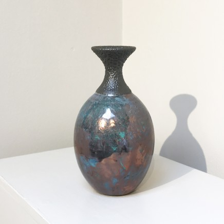 Keith Menear Raku Bottle 1810-2 Luster Glaze Ceramic 18 x 10 cm