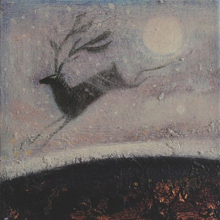 Catherine Hyde Winter Calling Summer's Leaping Stag, 2018 Acrylic on canvas 20 x 20 cm