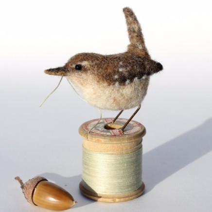 Dinny Pocock Bobbin Wren Needle-felted wool, wire and vintage bobbin 9.5 cm