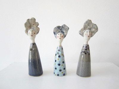 Jane Muir  Little Ladies 3  Ceramic  18 x 5.5 cm Each