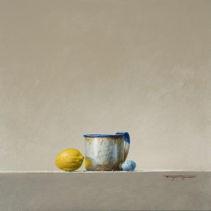 Bryan Hanlon Lemon and Thrush Egg Acrylic on board 40 x 40 cm