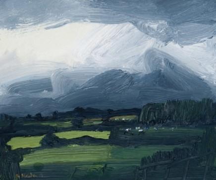 Robert Newton  Rain in the Hills  Oil on canvas  20 x 24 cm