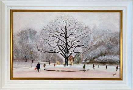 Chris Williamson The Final Flurry, Battersea Park Oil on panel 30.5 x 49.5 cm