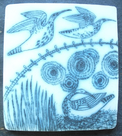 Georgina Warne Curlews Cobalt mono type on stoneware panel 13.5 x 12 cms