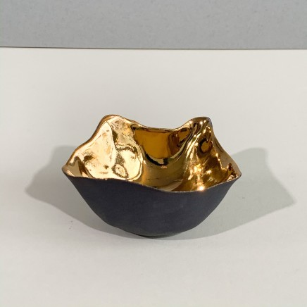 Penny Little Asymmetrical Bowl 2 Black Porcelain and Gold Lustre 4 x 8 cm