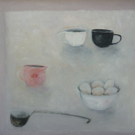 Marilyn Browning Table top with a bowl of eggs Oil on canvas 76 x 76 cm