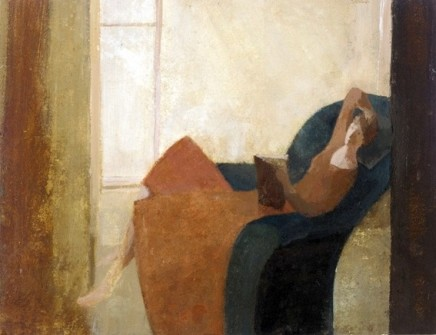 David Brayne RWS, Pink Light, Orange Dress