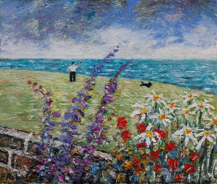 Paul Robinson The View Over My Garden Wall Oil on canvas 25.5 x 30.5 cm
