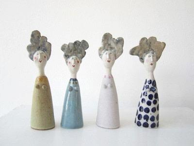 Jane Muir  Little Ladies 2  Ceramic  18 x 5.5 cm Each