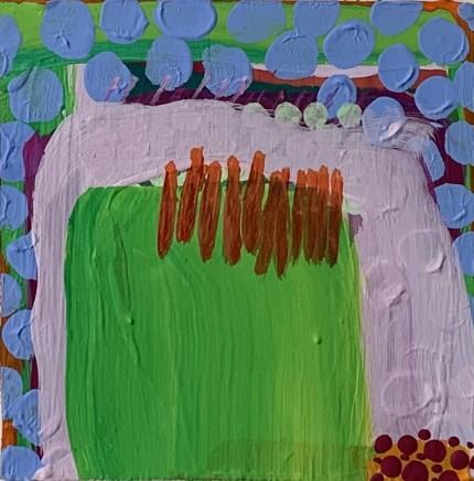 Rose Shorrock Hill Walking Acrylic on MDF 11.5 x 11.5 cm