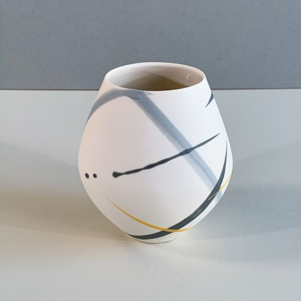 Ali Tomlin AT18 - Small Round Pot, Grey and Yellow Splash Porcelain 11 x 10 cm