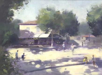 Archie Wardlaw Petanque, St Paul de Vence Oil on canvas 46 x 61 cm