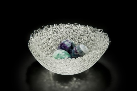 Cathryn Shilling  Nesting, 2018  Kiln formed glass cane with carved Fluorite eggs  16cm diameter x 5cm high