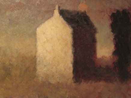 Nicholas Turner RWA White House with Moon Oil on board 15 x 20 cm