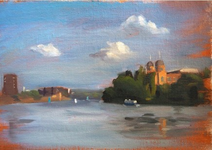 Christopher Gray Hammersmith toward Putney Oil on linen 25 x 35 cm