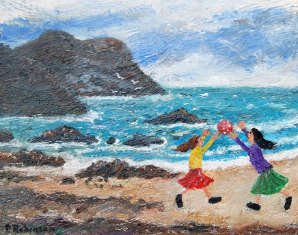 Paul Robinson Two Girls On Beach Oil on canvas 30.5 x 38 cm