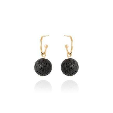 Gems Minka Guatemalan Volcanic Lava Earrings Guatemalan Volcanic Lava Earrings Black lava bead (removable) 9kt yellow gold hoop