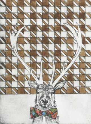 Devi Singh Deer Etching Edition of 14 20 x 15 cm