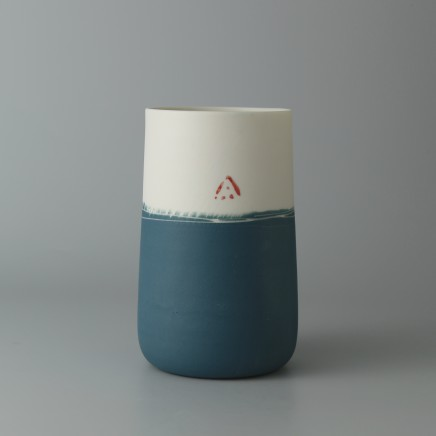 Ali Tomlin AT28: Tall Cup - Half Teal Porcelain H: 10.5 cm