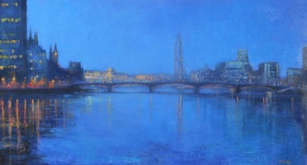 Terence Gilbert Towards Parliament from Vauxhall Oil on board 23 x 41 cm