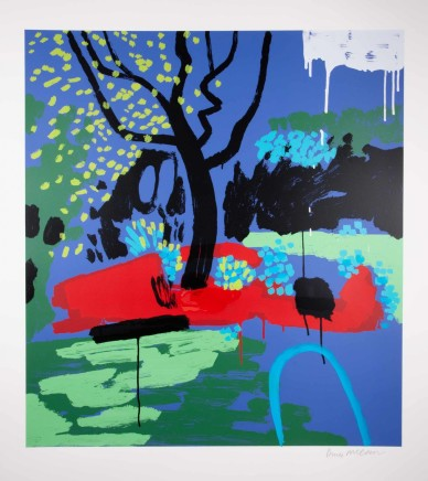 Bruce McLean Turquoise Hosepipe Ban Silkscreen print with hand painted embellishment Edition of 75 Framed 101 x 112 cm