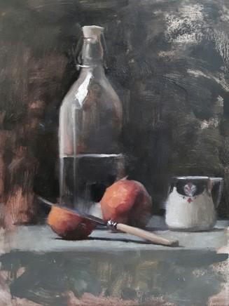 Archie Wardlaw Peaches Still Life Oil on canvas 40 x 30.5 cm