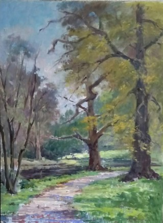 Chiara de Cabarrus Syon Park in Spring Trees Oil on canvas 40 x 30 cm
