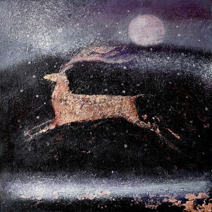 Catherine Hyde The Stag and the Snow acrylic on panel 30.5 x 30.5 cm