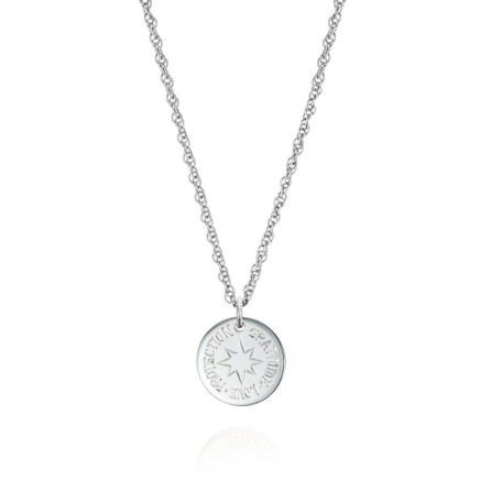 """Gems Minka Silver Protection Charm Sterling Silver 15mm diameter disc, with fine silver curb chain 18"""" with adjusting 16"""" ring"""