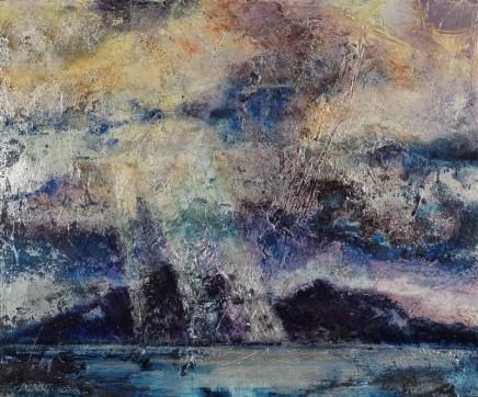 Nicola Rose Light Over Skye Oil on silver leaf 41 x 50 cm