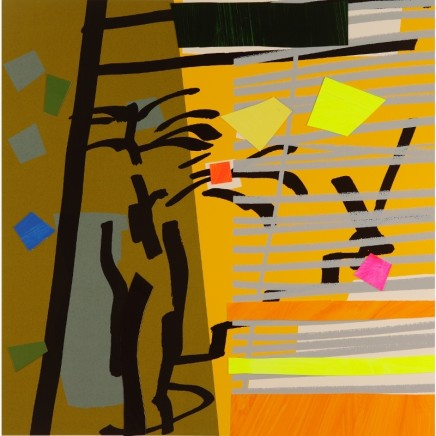 Bruce McLean Tree Fern Shadow Yellow Signed limited edition hand-cut and painted collaged Published 2015, edition of 75 Framed: £900 Image size: 54 x 54.5 cm Paper size: 73 x 74 cm