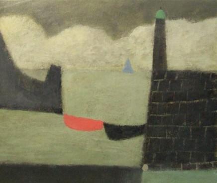 Nicholas Turner RWA, Lighthouse with Blue Sail