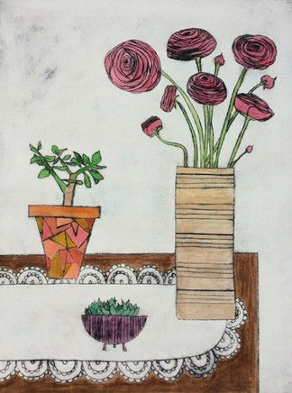Devi Singh Ranunculus Etching 40 x 30 cm Edition of 14