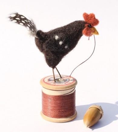 Dinny Pocock Black Bobbin Hen Wool fibres and wire frame