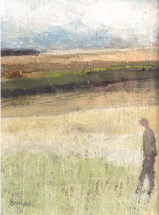 David Brayne RWS Red Barn Pigment and watercolour on paper 17 x 13 cm