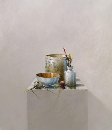 Bryan Hanlon Marmalade and Gulls Egg Acrylic on board 60 x 60 cm