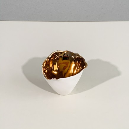 Penny Little Small Open Torn Form 1 White Porcelain and Gold Lustre 6 x 7 cm