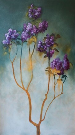 Nneka Uzoigwe The Lilac Tree Oil and chipped glass on Plywood 110 x 61 x 1.8 cm