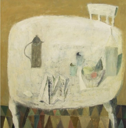 Nicholas Turner RWA White Table Oil on linen 80 x 80 cm