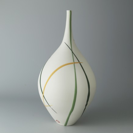 Ali Tomlin AT25: Bottle Vase - Yellow & Green Splash Porcelain H: 22.5 cm