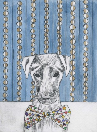 Devi Singh Blue Dog Hand coloured etching 20 x 15 cm
