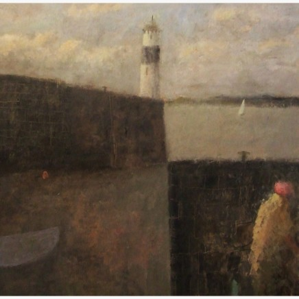 Nicholas Turner RWA Figure and Lighthouse Oil on board 38 x 38 cm