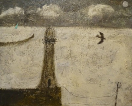 Nicholas Turner RWA Lighthouse and Sail Oil on board 20 x 25.5 cm