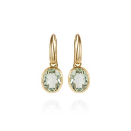 Gems Minka Indian Ocean Earrings Set with Prasiolite (Green Amethyst) Gemstones 18kt Yellow Gold