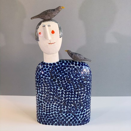 Jane Muir Bird-Head, Blue Spot Ceramic 56 x 26 x 10 cm